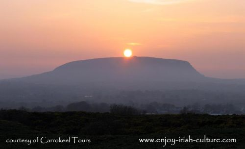 Knocknarea mountain, with Maeve's grave passage tomb on top, County Sligo, Ireland.