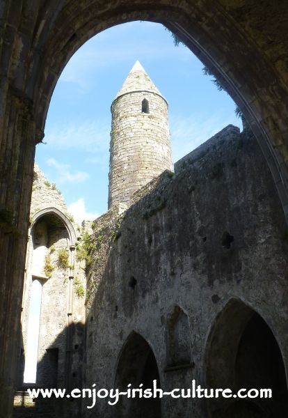 The Rock of Cashel, Cathedral arches and round tower.