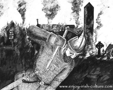 Vikings attack an Irish monastery- artist impression by Colm Sweeney.