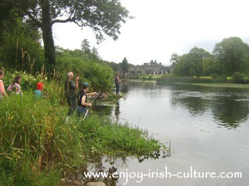Fishing for salmon at the Cong river, County Mayo, Ireland- with Ashford Castle in the distance.