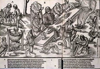 Medieval woodcarving of an outdoor feast of a MacSweeney Irish chieftain.