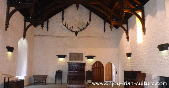 The great hall at Cahir Castle, County Tipperary- one of the best preserved medieval castles in Ireland.