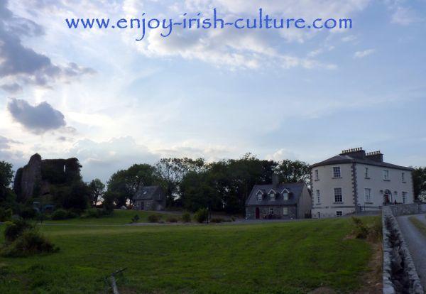 The ruin of Ballycurrin Castle next to Ballycurrin House, County Mayo, Ireland
