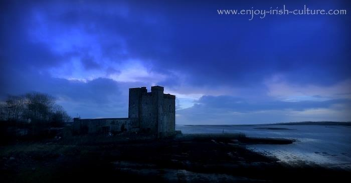 Oranmore Castle, a 15th century tower house castle in Ireland, in County Galway.