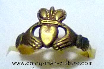 Antique Claddagh ring at the museum at Dillon's Jwellery shop, Quay Street, Galway, Ireland.