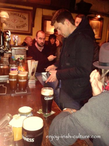 Buying a round in an Irish pub.
