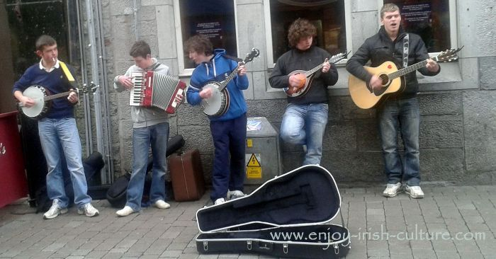 Street musicians in Galway City, Ireland.