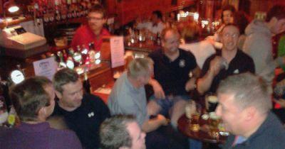 Crowded pub scene in Galway, Ireland.