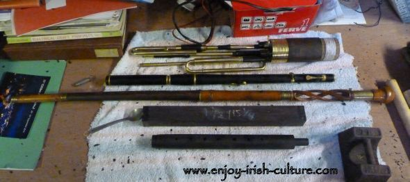 Traditional wooden flutes at the workshop of Irish instrument maker Eugene Lambe.