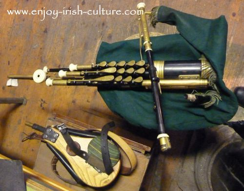 A set of Irish pipes made by Eugene Lambe.