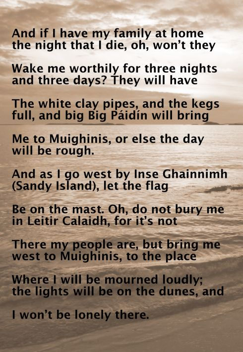 Lyrics of Amhrán Mhuighinse, aan Irish song in the sean nos style, verse 5 and 6 in English.