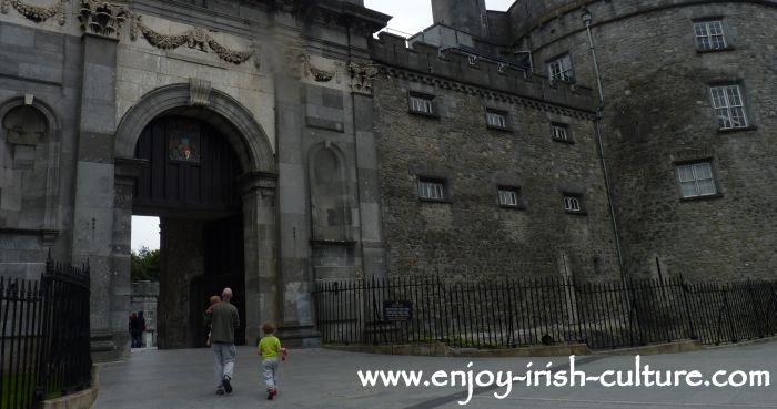 The impressive Classical gate at Kilkenny Castle, Ireland.