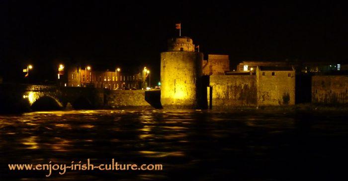 Limerick Castle, Limerick, Ireland, lit at night.