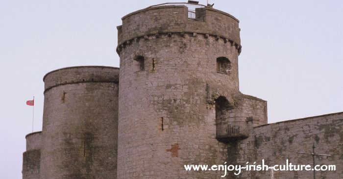 The towers of King John's Castle, Limerick, Ireland.