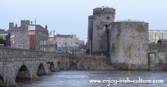 King John's Castle and Thomond Bridge, Limerick, Ireland.
