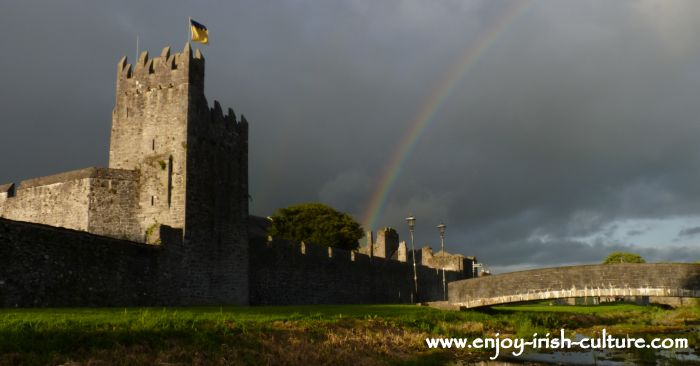 Medieval town wall and tower house castle at Fethard, County Tipperary, Ireland.