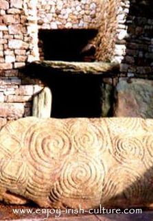 The entrance to ancient Ireland's Newgrange megalithic tomb in County Meath, Ireland.