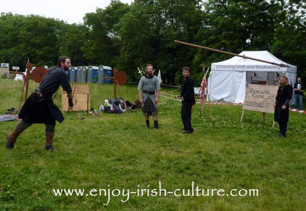 Medieval Ireland- Irish warrior throwing a spear, reenacted by Eireann Edge.