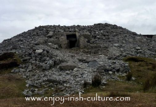 Cairn with collapsed top at Carrokeel, County Sligo, Ireland.