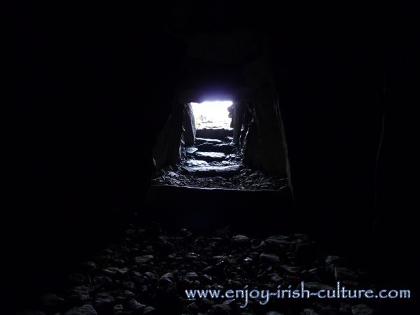 Inside a cairn at Carrowkeel Passage Graves, County Sligo, Ireland.