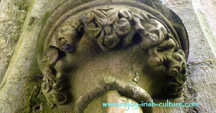 Stone carving at the Cathedral at the Rock of Cashel, County Tipperary, Ireland.