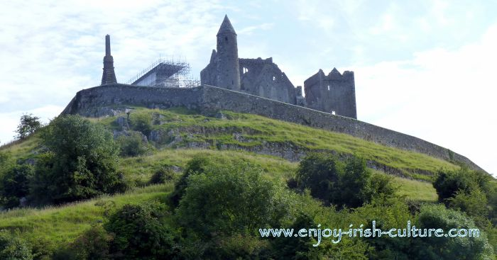 View from afar at the Cashel Rock, County Tipperary, Ireland.