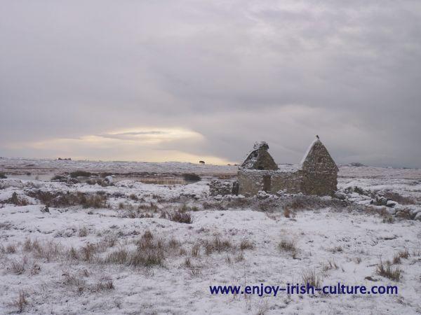 Cottage in winter- Connemara Ireland.