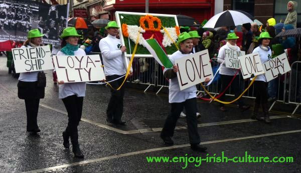 Paddy's Day in Galway, Ireland- the Galway Claddagh ring symbol.