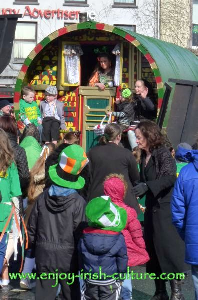 Paddy's Day in Galway, Ireland- an antique travellers waggon.