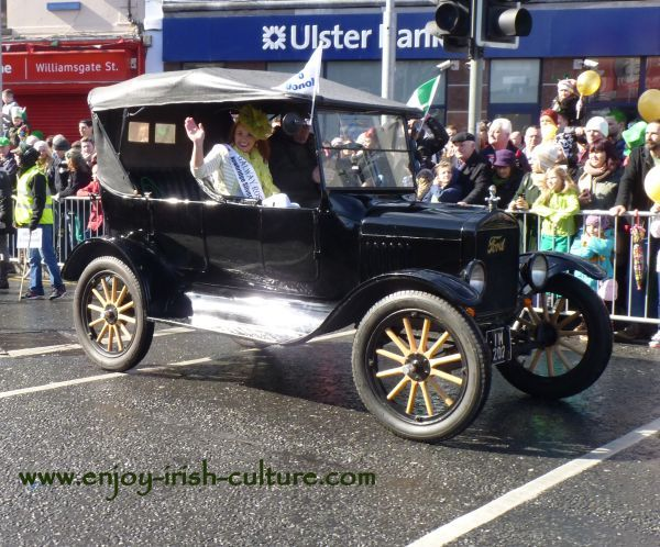 Paddy's Day in Galway, Ireland- vintage car