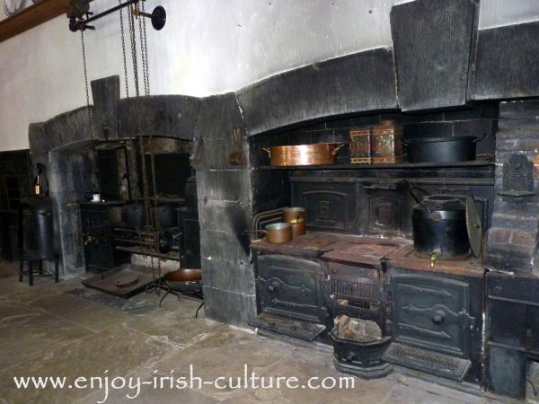 Victorian kitchen with ovens.
