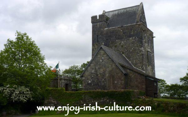 The 15th century Craggaunowen castle at Craggaunowen outdoor heritage museum Quin, County Clare, Ireland.