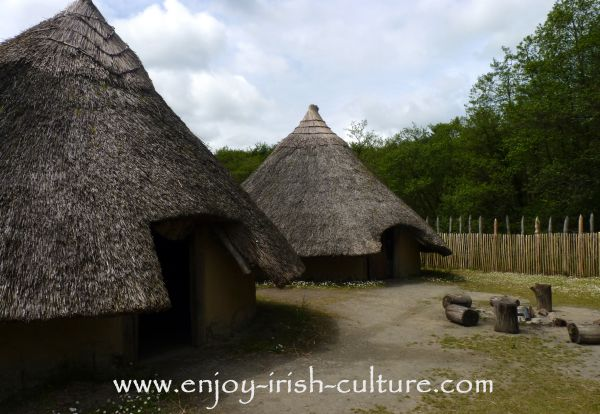 The reconstructed ancient Ireland crannog dwelling place at the outdoor heritage museum of Craggaunowen at Quin, County Clare, Ireland.
