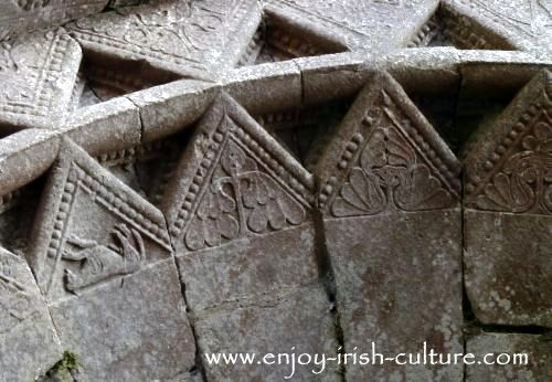 The Vikings in Ireland brought new art motives such as animals, seen here at Annaghdown Cathedral, County Galway.
